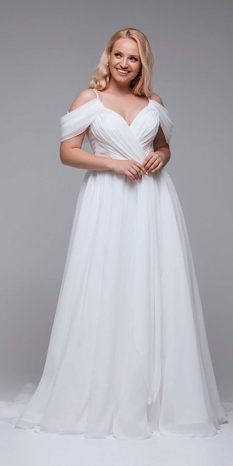 39 Plus-Size Wedding Dresses: A Jaw-Dropping Guide ❤ plus size wedding dresses a line off the shoulder simple rara avis #weddingforward #wedding #bride