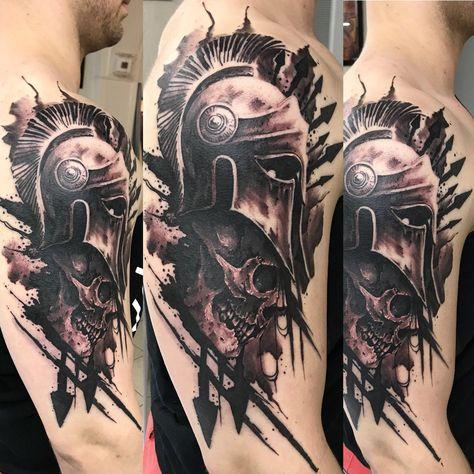 Spartan helmet tattoo black and grey skull tattoo for men
