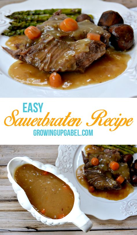 Tired of your boring pot roast recipe? Try this easy German pot roast, or Sauerbraten recipe for an easy dinner! - This has to marinate in a vinegar mixture for 3 days....