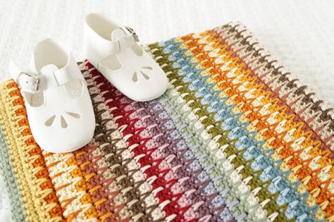 Baby Blanket Crochet Pattern Retro PDF Instant Download Cot Pram Sensory Nursery Gift Colourful