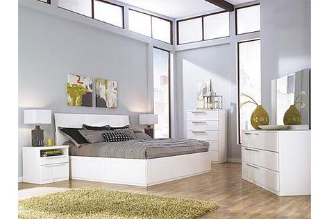 The Jansey Storage Bedroom Set From Ashley Furniture Homestore Afhs Com The High Gloss White Finish Of Platform Bedroom Sets Modern Bedroom Set Bedroom Set