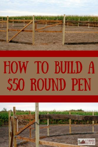 Let me show you how some salvaged materials and smart shopping allowed us to build a round pen for o Horse Shelter, Horse Stables, Horse Tack Rooms, Round Pens For Horses, Horse Round Pen, Horse Pens, Horse Barn Plans, Design Jardin, Horse Ranch