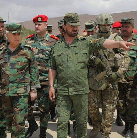 Suheil al-Hassan with his Russian body guard and Major General Jamil al-Hassan (left).