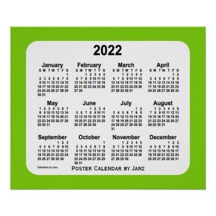 Personalized Calendar 2022.2022 Yellow Green Wall Calendar By Janz Print Zazzle Com Green Calendar Wall Calendar Custom Calendar