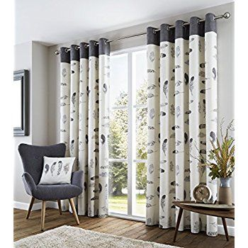 Ring Top Fully Lined Pair Eyelet Ready Made Curtains Red Black Silver Cream Blue Natural And Cr Grey Curtains Living Room Curtains Living Room Curtain Designs