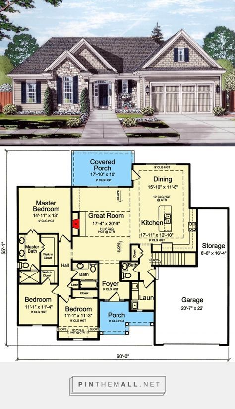 Plan 39276st One Level 3 Bed Open Concept House Plan Open Concept House Plans Architectural Design House Plans Craftsman House Plans