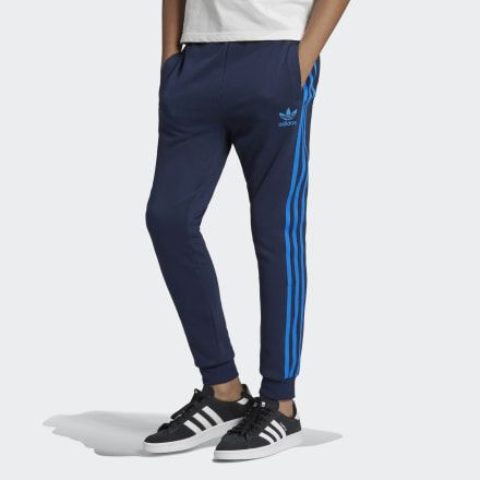 adidas 3 stripes pants blue