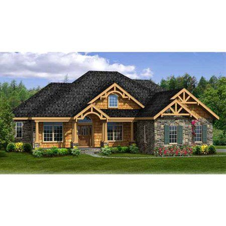Thehousedesigners 4968 Construction Ready Craftsman Ranch House Plan With Walkout Basement Foundation 5 Printed Sets Walmart Com Rustic House Plans Ranch House Plans Ranch Style House Plans
