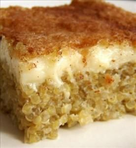 Quinoa Pudding...Delicious!  I used 1 cup of Craisins instead of the raisins/dates.  Can be used as a breakfast casserole or a dessert! I served the Vanilla Greek Yogurt and sprinkled cinnamon on each serving as I put it on the plates.