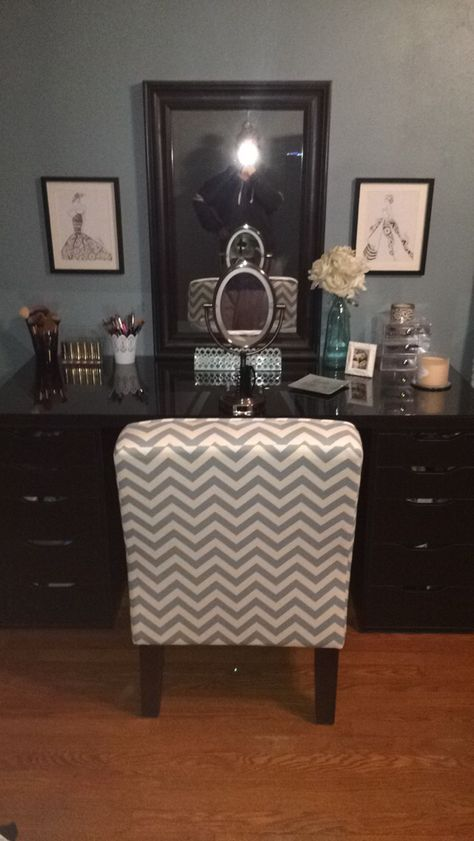 Makeup Vanity Made From 2 Alex Ikea Brown Black Drawers A Table Top To Match Mirror Is Also From Ikea Chair Makeup Vanity Black Makeup Vanity Room Furniture