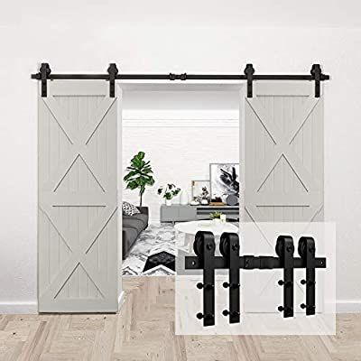 Homlux 10ft Heavy Duty Sturdy Sliding Barn Door Hardware Kit Double Door Smoothly And Quietly Sim Sliding Barn Door Track Barn Door Track Sliding Barn Door