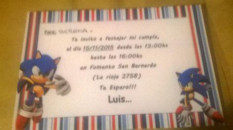 Sonic Boom Manualidades Invitaciones De Cumpleaños