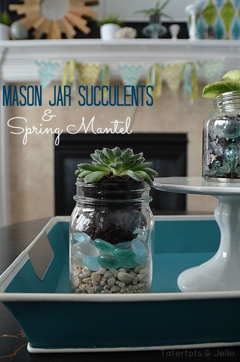 Mason Jar Succulents and Spring Mantel Tatertots & Jello #Spring #masonjars
