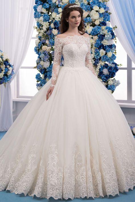 df32765da4 Romantic Tulle Bateau Neckline Ball Gown Wedding Dress With Lace Appliques    Beadings