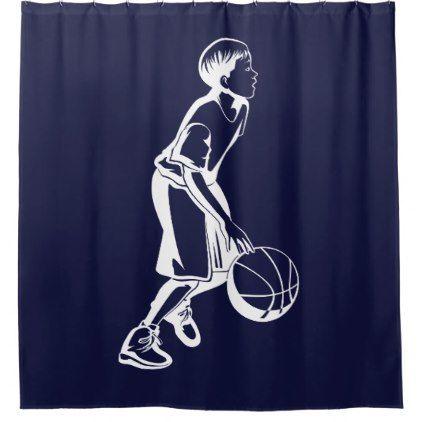 Boy Dribbling A Basketball Shower Curtain Zazzle Com