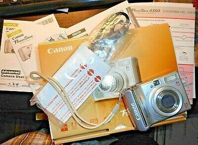 Canon Powershot A550 7 1mp Digital Camera Silver Digital Camera Digital Camera