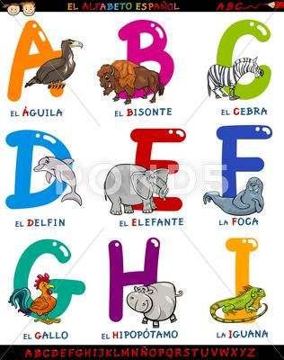 Cartoon Spanish Alphabet With Animals Clip Art 46738219 Cartoon Illustration Free Cartoons Cartoons Vector