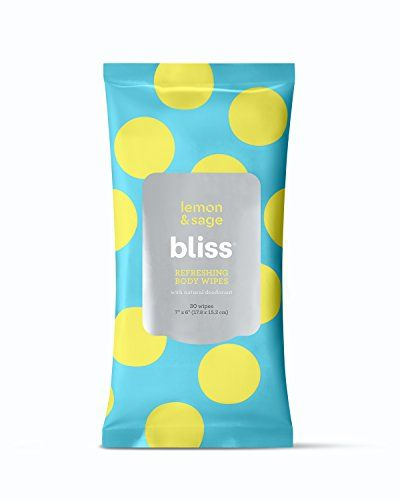 Bliss Lemon Sage Refreshing Body Wipes Plant Based Aluminum