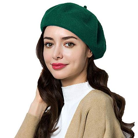 f002759964023 Hestya 3 Pieces Beret Hat French Style Beanie Cap Solid Color Winter Hat  Women Girls Casual ...