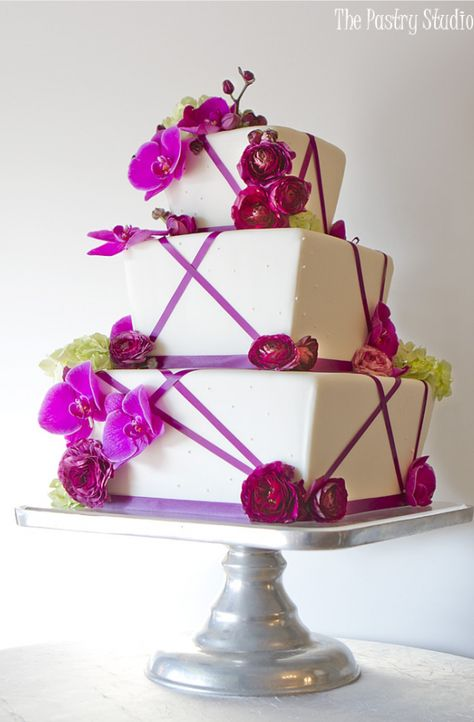 Purple Ribbons & Orchids Wedding Cake Photo