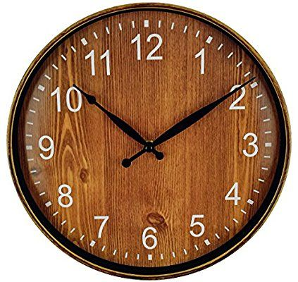 Amazon Com Foxtop Silent Non Ticking Wooden Look Quartz Decorative Wall Clock Vintage Round Battery Operated C Clock Decor Vintage Wall Clock Clock Wall Decor