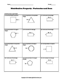 Distributive Property As Area Or Perimeter Problems Worksheet