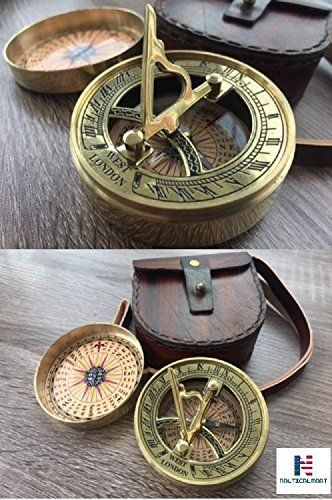 "Sundial Compass Vintage Brass Nautical 3/"" Marine Compasses Steampunk Retro Old"