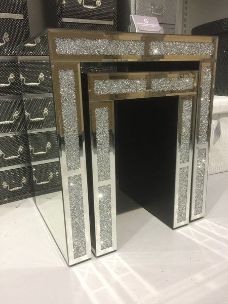 Stunning Crushed Diamond And Mirror Nest Of 2 Tables | The Glitter Furniture  Company® | Home In 2018 | Pinterest | Glitter Furniture, Furniture And  Bedroom