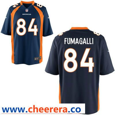 sports shoes c6ec9 628f4 Men's Denver Broncos #84 Troy Fumagalli Navy Blue Alternate ...