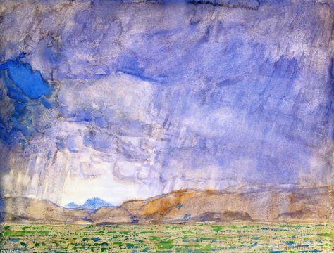 Orage sur la piste de l Oregon, aquarelle de Frederick Childe Hassam (1859-1935, United States)