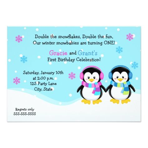 penguin twins birthday invitation boy girl invitation twins