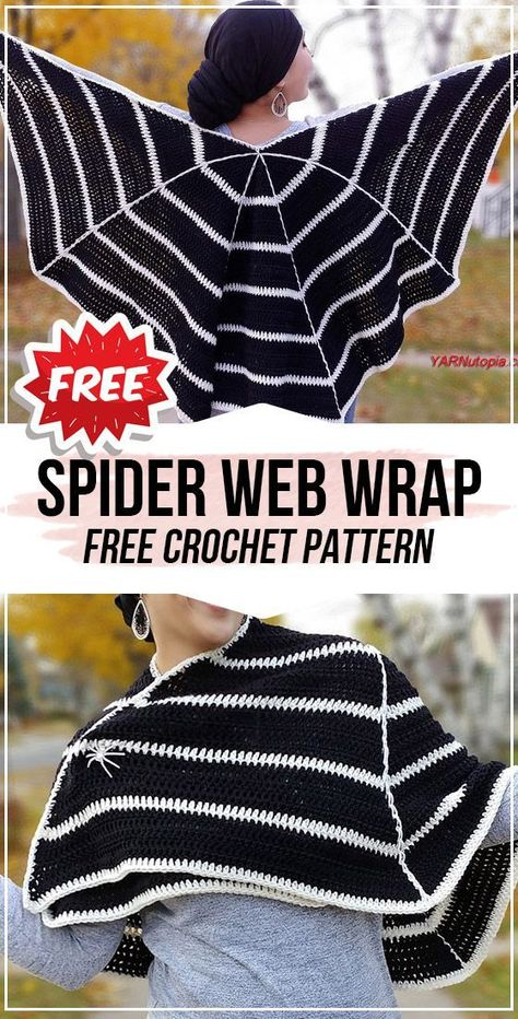 crochet Spider Web Wrap free pattern - easy crochet wrap pattern for beginners Crochet Wrap Pattern, Crochet Cape, Crochet Scarves, Crochet Clothes, Free Crochet, Crochet Shawl, Crochet Stitches, Ravelry, Halloween Crochet Patterns
