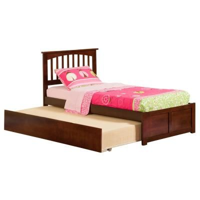 Atlantic Furniture Mission Walnut Twin Platform Bed With Flat Panel Foot Board And Twin Size Urban Trundle Bed Brown Atlantic Furniture Twin Platform Bed Bed Furniture