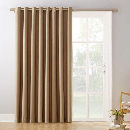 Sun Zero Conrad Extra Wide Blackout Sliding Patio Door Curtain Panel In 2020 Patio Door Curtains Sliding Patio Doors Patio Doors