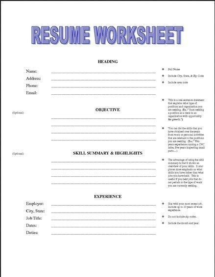 Resume Building Worksheet Job Resume Samples Free In 2020 Job Resume Samples Job Resume Free Printable Resume