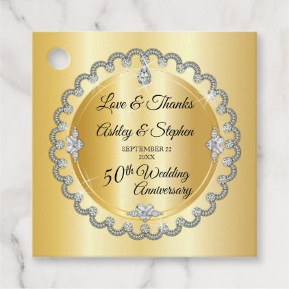 Elegant Gold Diamonds 50th Wedding Anniversary Favor Tags Zazzle Com Anniversary Favors 50th Wedding Anniversary 50th Wedding Anniversary Favors