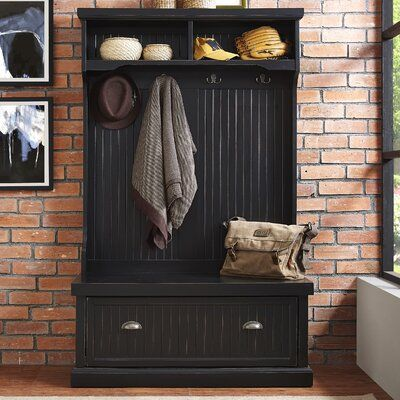 Halstead Hall Tree Bench Shoe Storage Color Distressed Black In