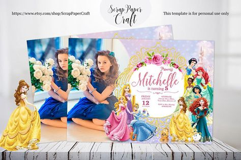 DETAILS Disney Princess Birthday Invitation Photo Personalized All Girl Party Belle This File Is