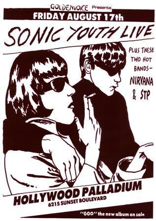 Vintage Sonic Youth NIRVANA STP Poster PICTURE