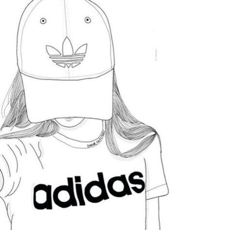 Love Adidas Dessin Noir Et Blanc Fille Noir Et Blanc Et