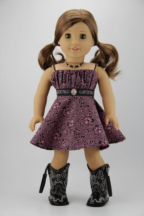 """American Girl doll clothes - Western style dress and necklace (fits 18"""" doll) (420pnk)"""