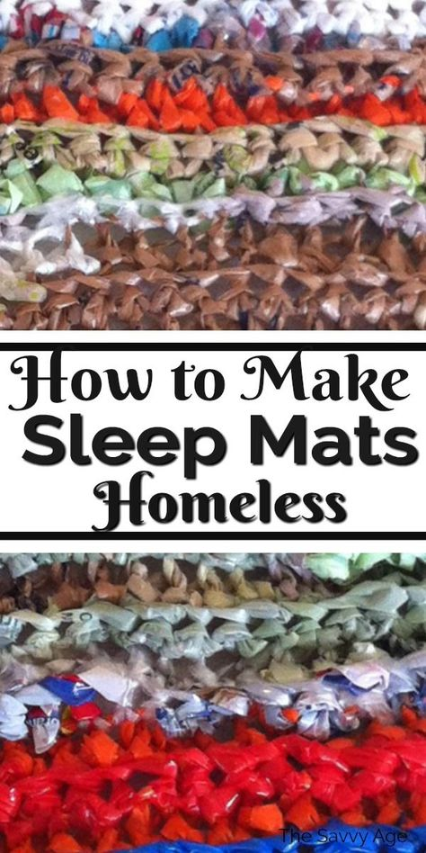 Sleep Mats For Homeless {Plarn!} Learn how to turn plastic bags into sleep mats for homeless. Plarn mats for homeless pattern to knit and crochet. Recycle for a good cause! Reuse Plastic Bags, Plastic Bag Crafts, Plastic Bag Crochet, Plastic Mat, Crochet Mat, Plastic Grocery Bags, Plastic Spoons, Plastic Bottles, Homeless Bags