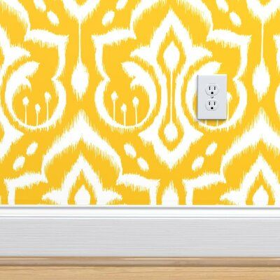 Ebern Designs Woehler Ikat Removable Peel And Stick Wallpaper Roll Color Yellow White Size 144 L In 2020 Peel And Stick Wallpaper Stick On Wallpaper Wallpaper Roll