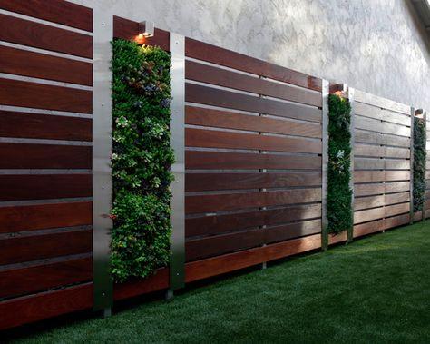 gartenzaun holz stahl elemente vertikale gärten ideen sichtschutz, Hause und Garten