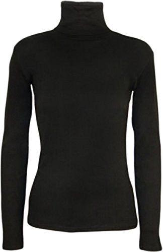 Women Ladies Turtle Polo Roll Neck Short Sleeve Plain Stretch T Shirt Top Jumper