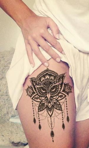 Baloo Lotus Owl Chandelier Temporary Tattoo Mandala Thigh Tattoo