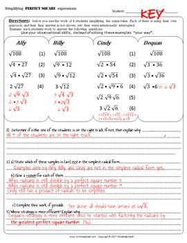 Error Analysis Strategies For Simplifying Radical Expressions Simplifying Radical Expressions Radical Expressions Simplifying Radicals
