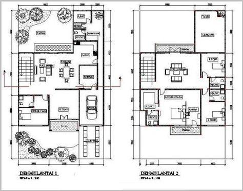 gambar denah rumah minimalis 2 lantai modern 11   denah