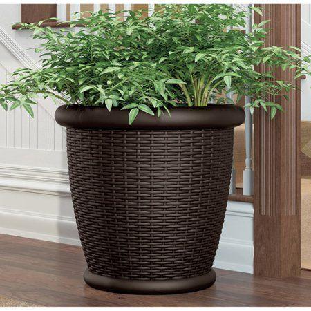 Patio Garden Resin Planters Wicker Planter Plant Pot Decoration