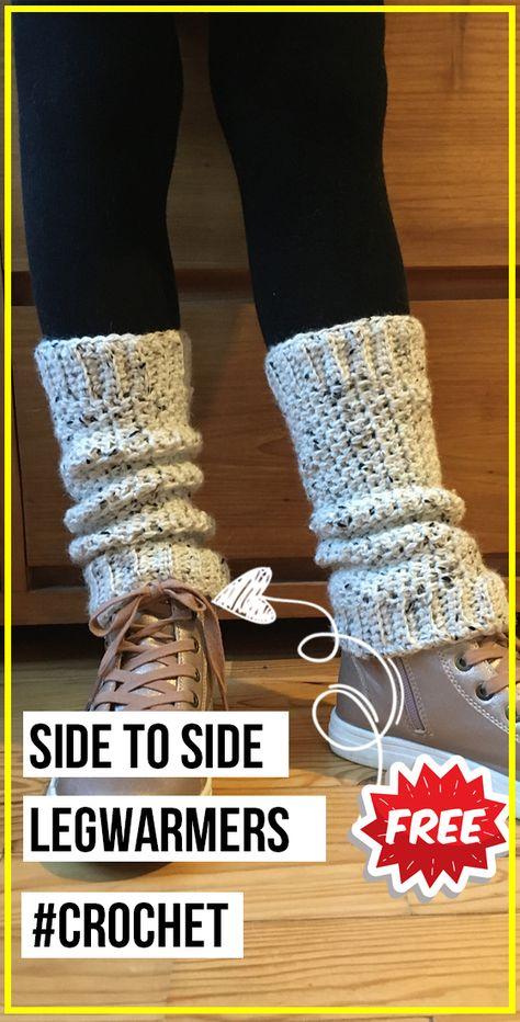 crochet Side to Side Legwarmers free pattern - easy crochet legwarmers pattern for beginners Crochet Socks Pattern, Crochet Boot Cuffs, Crochet Leg Warmers, Crochet Boots, Crochet Slippers, Crochet Clothes, Knitting Patterns, Crochet Patterns, Knitting Designs